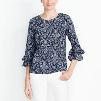 Printed double ruffle-sleeve top