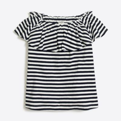 Girls' striped off-the-shoulder top