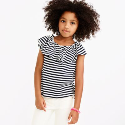 Girls' striped off-the-shoulder top