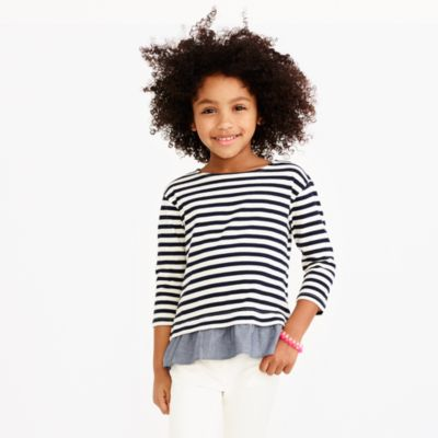 Girls' long-sleeve striped ruffle hem T-shirt
