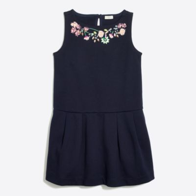 Girls' floral necklace ponte dress