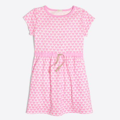 Girls' short-sleeve printed hearts dress