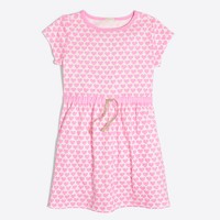 Girls' short-sleeve printed hearts dress