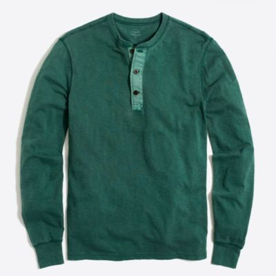 Long-sleeve garment-dyed henley