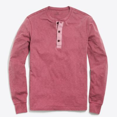 Long-sleeve garment-dyed henley factorymen new arrivals c