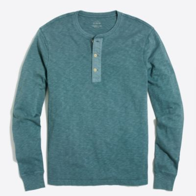 Long-sleeve garment-dyed henley