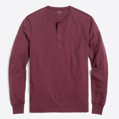 Long-sleeve slub cotton henley