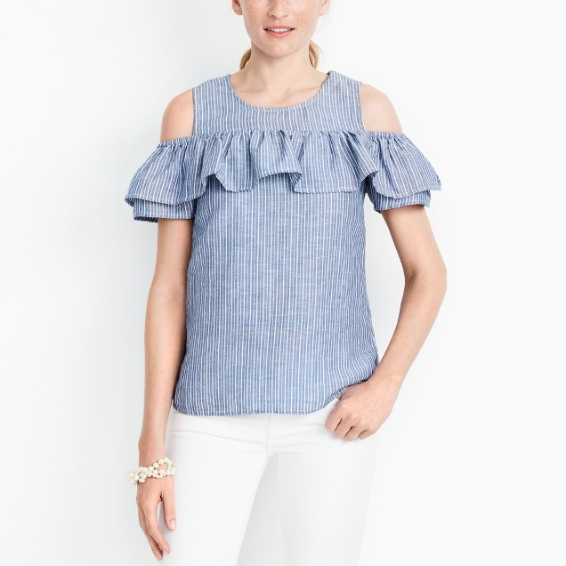 Cold-shoulder ruffle top