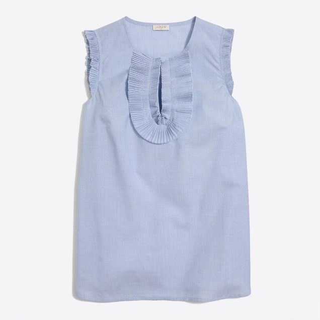End-on-end ruffle-front tank top
