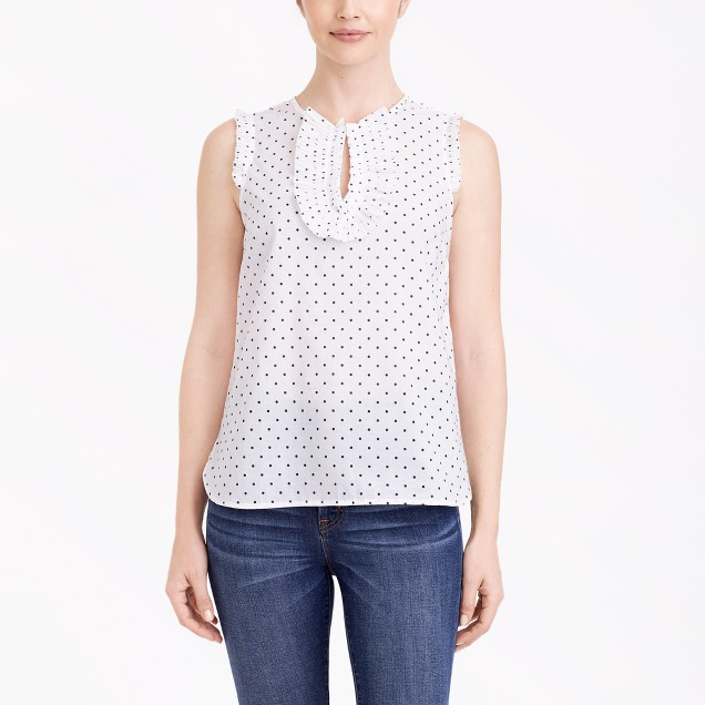 Printed ruffle-front tank