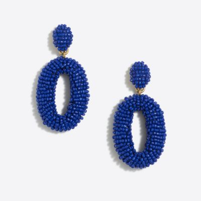 Beaded oval dangle statement earrings