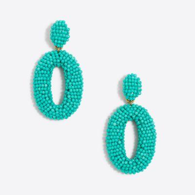 Beaded oval dangle statement earrings factorywomen new arrivals c
