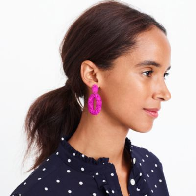 Beaded oval dangle statement earrings factorywomen new arrivals c