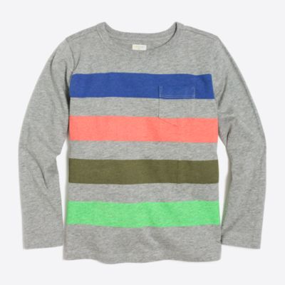 Boys' long-sleeve quad striped t-shirt