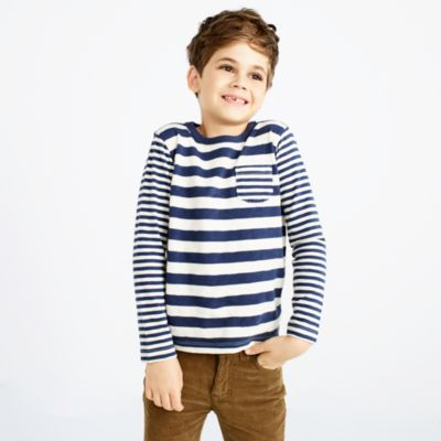 Boys' long-sleeve mash-up striped T-shirt
