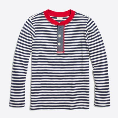 Boys' long-sleeve striped henley with chambray placket