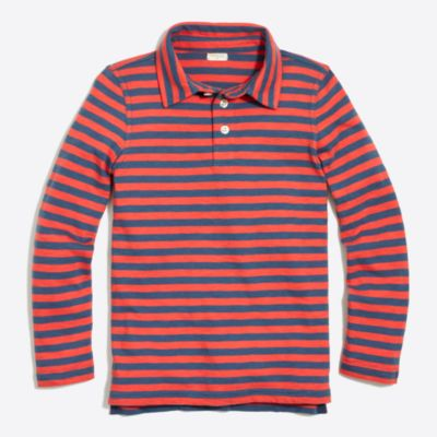 Boys' long-sleeve striped polo