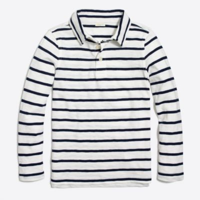 Boys' long-sleeve classic stripe polo
