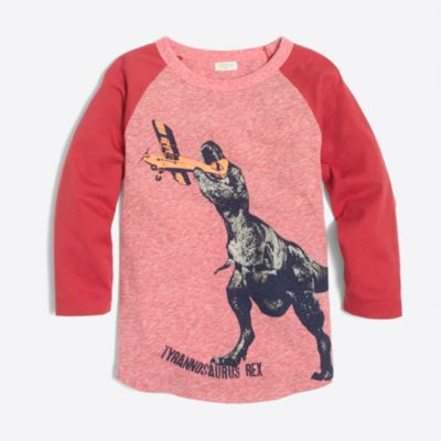 Boys' raglan dino with plane storybook T-shirt