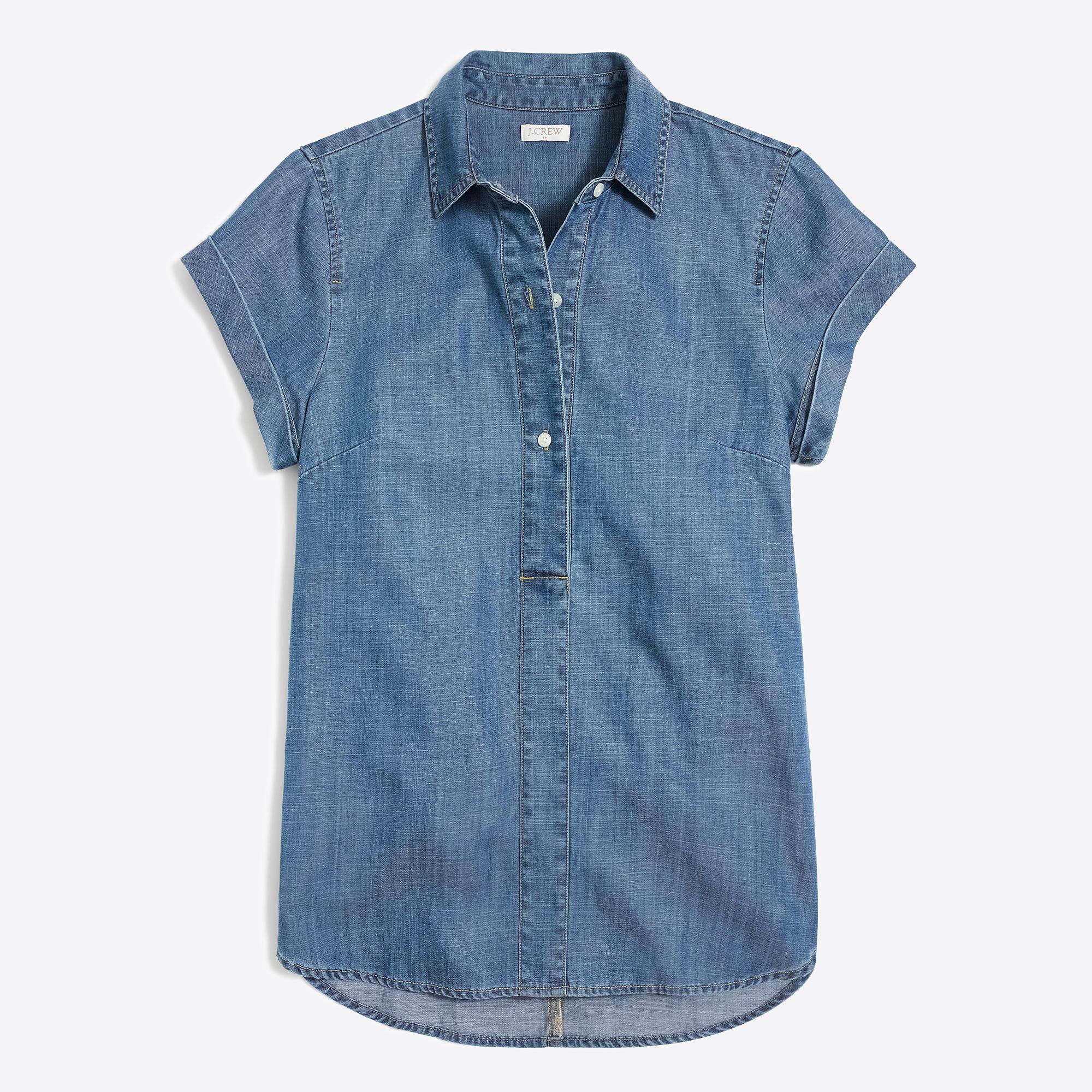 Women 39 S Chambray Short Sleeve Popover Women 39 S Shirts J