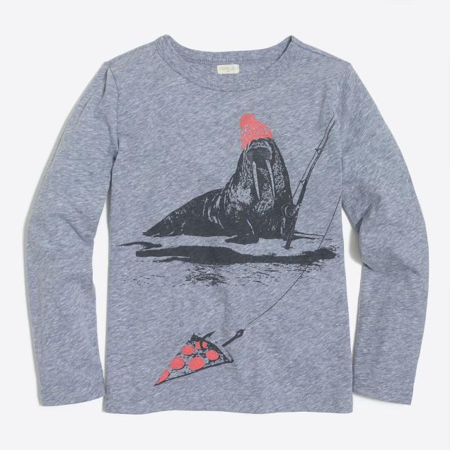 Boys' long-sleeve walrus fishing storybook T-shirt