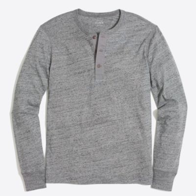 Long-sleeve heathered cotton henley factorymen t-shirts & henleys c
