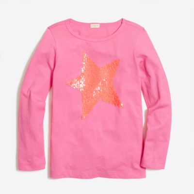 Girls' long-sleeve sequin star keepsake T-shirt