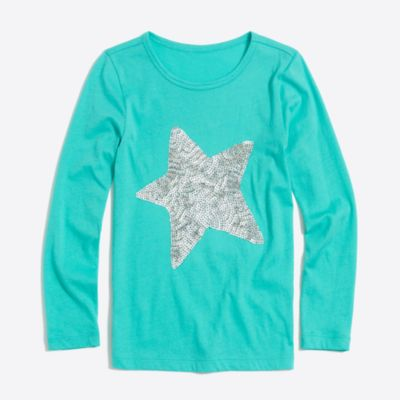 Girls' long-sleeve sequin star keepsake T-shirt factorygirls shirts, t-shirts & tops c