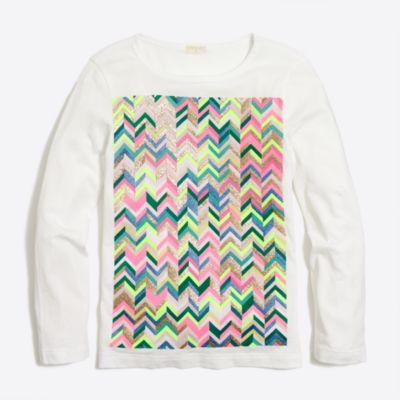 Girls' long-sleeve rainbow chevron keepsake T-shirt