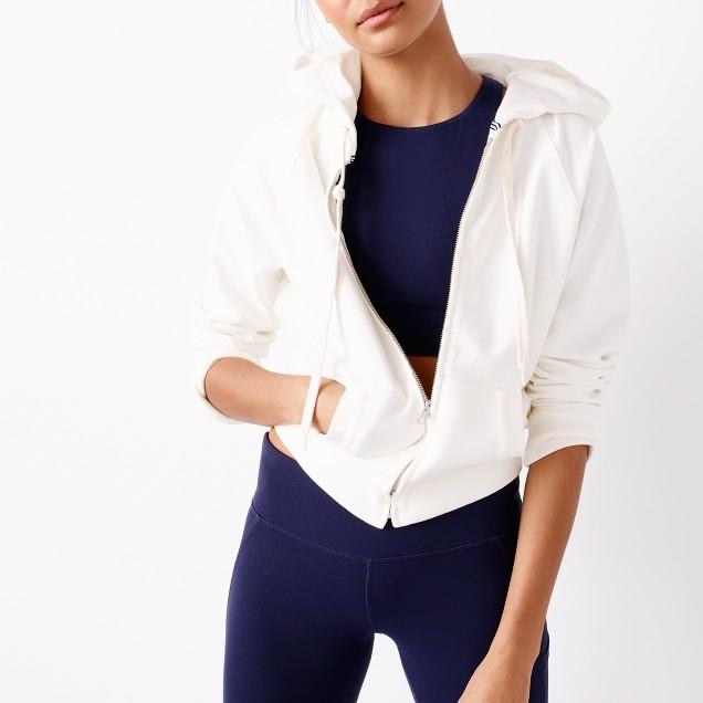 J.Crew sport cropped zip hoodie