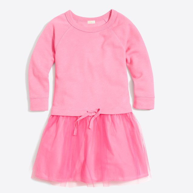 Girls' sweatshirt dress with tulle skirt