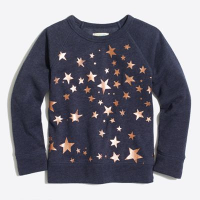 Girls' foil star sweatshirt