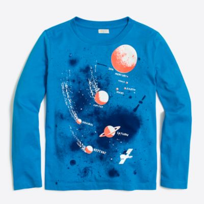 Boys' long-sleeve glow-in-the-dark planets storybook T-shirt