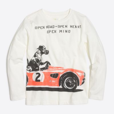 Boys' long-sleeve glow-in-the-dark racecar dog storybookT-shirt