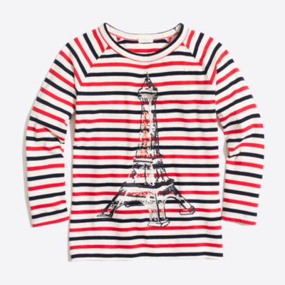 Girls' raglan-sleeve Eiffel Tower keepsake T-shirt