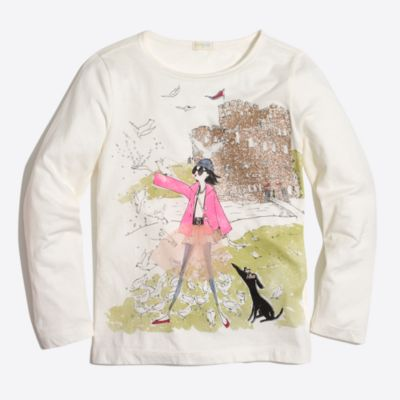 Girls' long-sleeve Maddie castle keepsake T-shirt