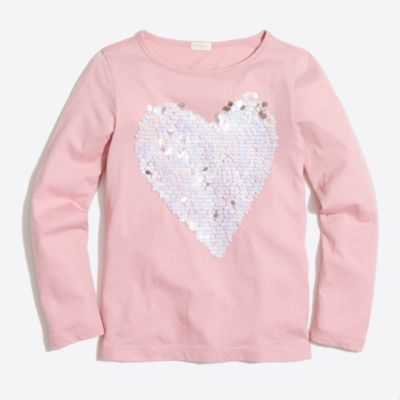 Girls' long-sleeve sequin heart keepsake T-shirt