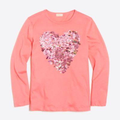Girls' long-sleeve sequin heart keepsake T-shirt factorygirls new arrivals c