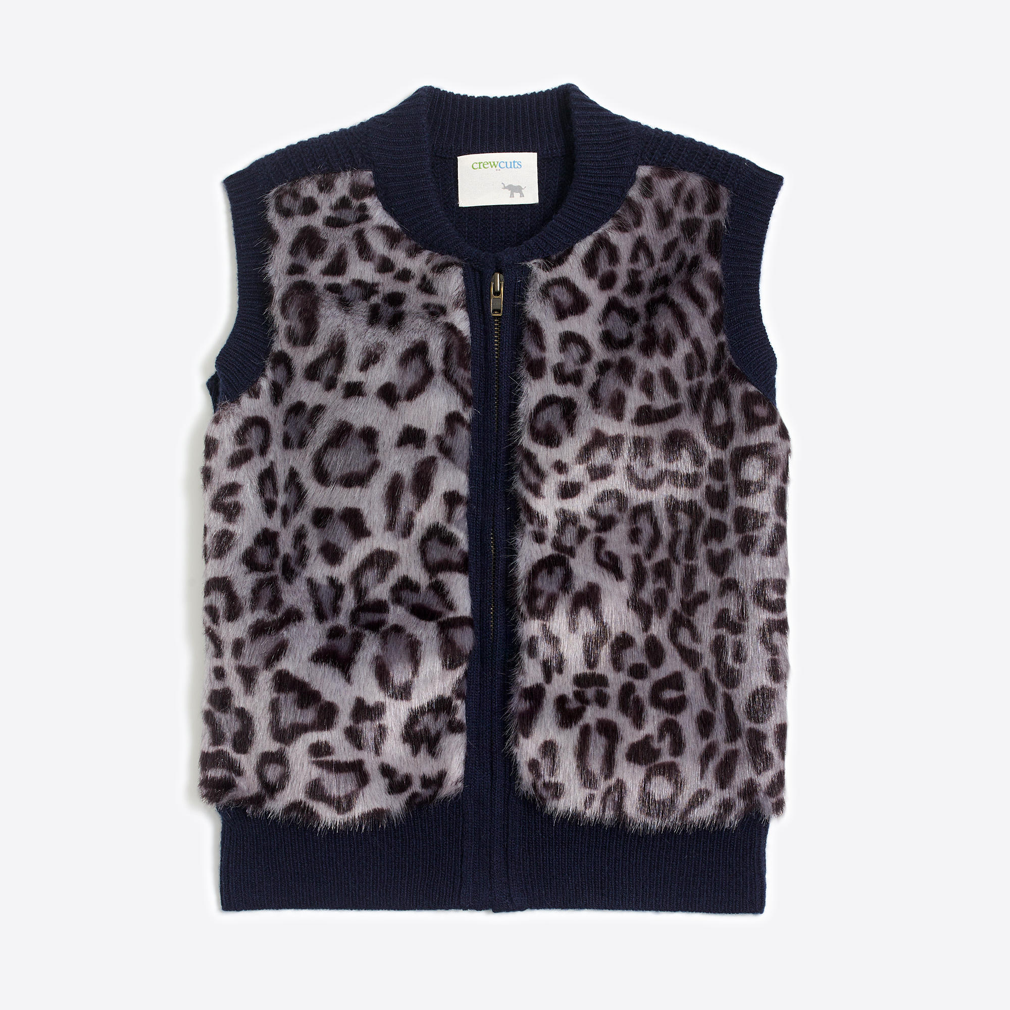 Girls' leopard printed faux-fur vest : FactoryGirls cardigans ...