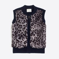 Girls' leopard printed faux-fur vest