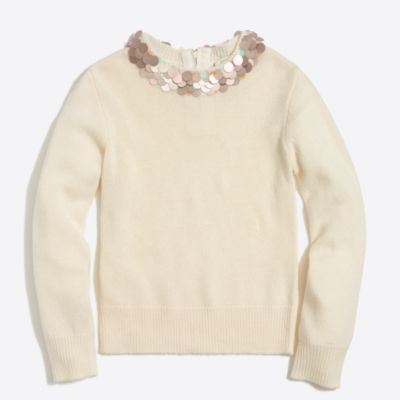 Girls' solid pailette necklace sweater