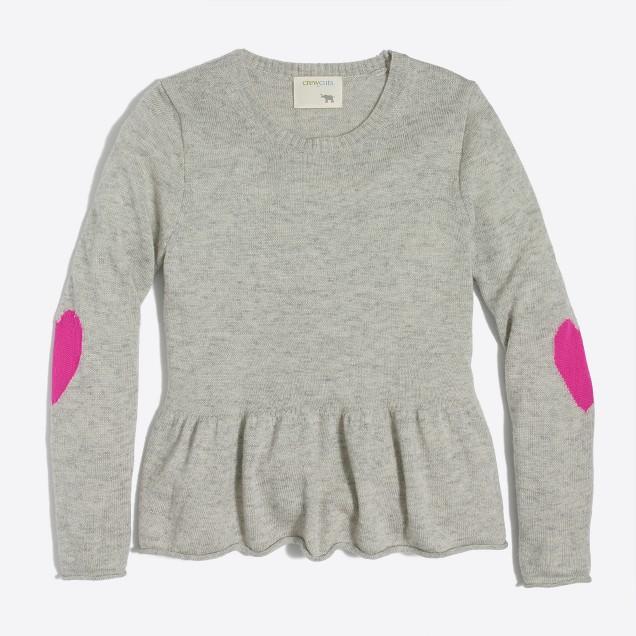 Girls' heart elbow patch peplum sweater