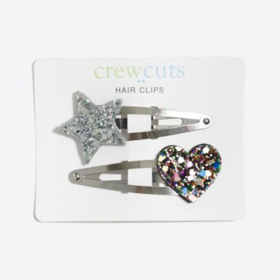 Girls' heart and star clips