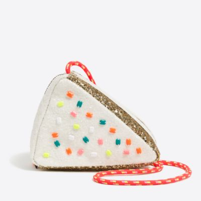 Girls' glitter cake slice bag