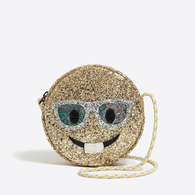 Girls' glitter glasses emoji bag