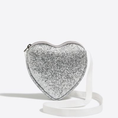 Girls' glitter heart bag