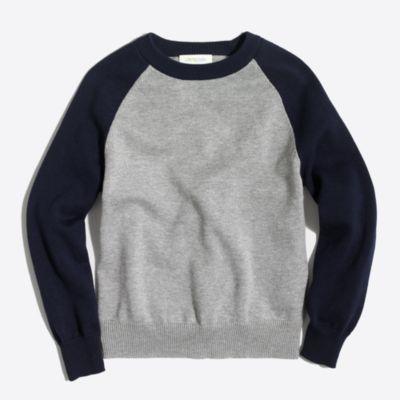 Boys' colorblock baseball crewneck sweater
