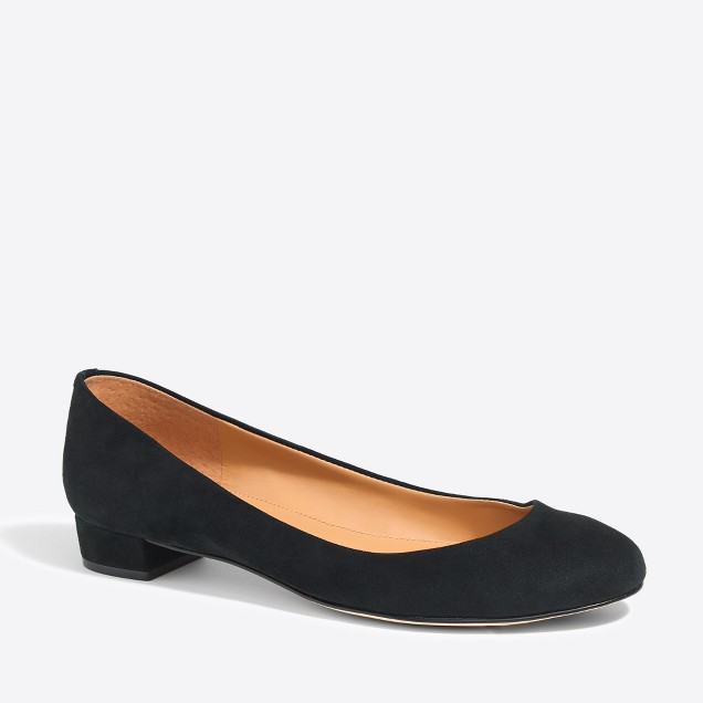 Lily suede covered-heel flats