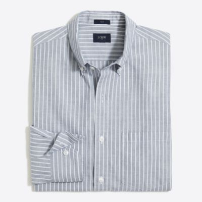 Slim washed shirt in end-on-end stripe