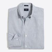 Slim washed shirt in end-on-end stripe